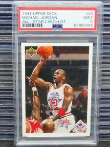 1991-92 Upper Deck Michael Jordan All-Star Checklist #48 PSA 9 Mint Bulls D262