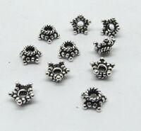 10 Pieces 925 Sterling Silver Beads Star Cap Bali Silver Beads Cap 6mm Round
