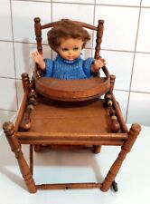 Antique  maple wood folding doll High Chair + DOLL