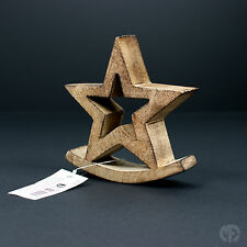 Home Decoration Ornament Star with Rocking Base Natural Wood Christmas Chic