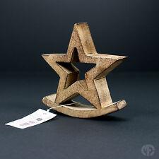 Decorazione Casa Ornamento STAR CON BASE A DONDOLO LEGNO NATURALE Natale CHIC NATALE