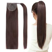 100% Real Thick Clip In Remy Human Hair Extensions Pony Tail Wrap On Ponytail