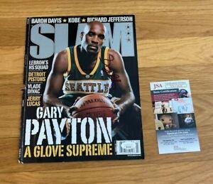 Gary Payton signed SLAM Magazine COVER A Glove Supreme Seattle Sonics JSA COA