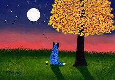 Australian Cattle Dog Blue Heeler Moon Folk Art Print Todd Young Autumn Twilight