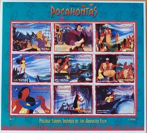 DISNEY- POCAHONTAS - 9 STAMP MINT SHEET.