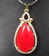 Gold Plate Red JADE Pendant Teardrop Cabochon Necklace Diamond (Imitation 286883