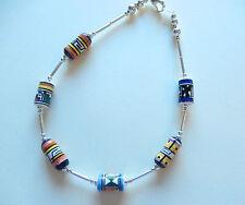 "Anklet -silver color-cylinder shape beads-multi color-different designs-10.5"""