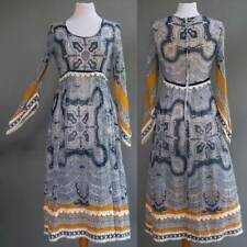VTG 60s 70s Bohemian Masterpiece Dress Sheer Cotton Gauze Boho Hippie Festival S