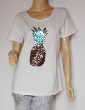 Rick Cardona T-Shirt ecru Pailetten Ananas Design Gr. 44 - Neu