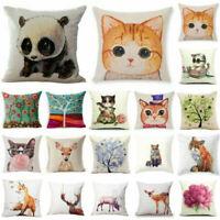 Soft Home Decor Cotton Linen Throw Pillow Case Fox Sofa Waist Cushion Cover