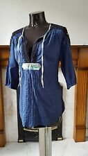 FREE PEOPLE BLUE / BLACK SHIRT / TUNIC SIZE XS RRP £48