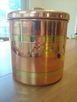 "Stainless steel w/ Copper Brass Accent ""Cookies"" Tag Cookie Jar Canister 1980's"