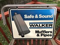 Original 2-Sided WALKER Mufflers & Pipes Aluminum Sign by Stout Sign w Bracket