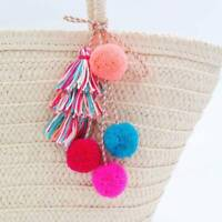 1X Boho Colorful Pom Pom Ball Tassel Rope Chain Long Pendant Necklace Bag Decor