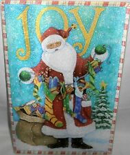 Glass Cutting Board Primitive Santa Holding Christmas Stockings Filled With Toys