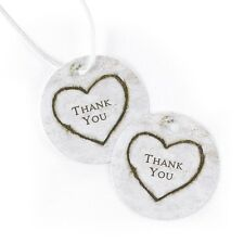 Rustic Heart Round Thank You Wedding Favor Tags Cards 25/pk