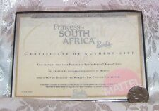 MATTEL PRINCESS OF SOUTH AFRICA BARBIE DOLL CERTIFICATE OF AUTHENTICITY COA ONLY