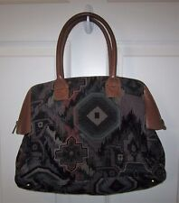 Richmark Made in America Brown Leather Tapestry Vintage Handbag Purse EUC