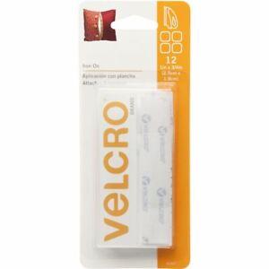 "VELCRO Brand Iron-On Rectangles .75""X1"" 12/Pkg-White -91027"
