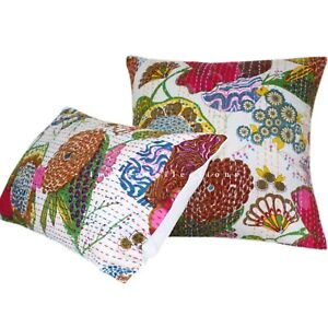 18x18 Indian Kantha Case Cotton Throw Pillowcase Decorative Boho Decor Free ship