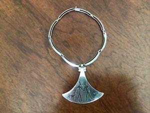 Vintage Los Castillo Silver Silver Native Mid Century Necklace, Taxco Mexico 925