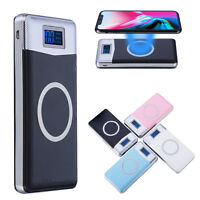 NEW 900000mAh Power Bank Qi Wireless Charging 2 USB LED Portable Battery Charger