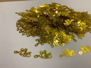 GOLD 'LOVE' TABLE CONFETTI SCATTER HEARTS WEDDING HEN PARTY DECORATION