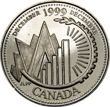 1999 December CANADA 25 Cent  Millennium Series BU Coin From Mint Roll UNC