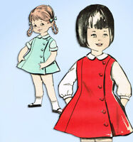 1960s Original Vintage Advance Pattern 2715 Toddler Girls Flared Jumper Dress 6