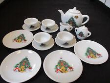 Child's Christmas Tea Set - Porcelain - 17 Pieces - No Chips/Cracks