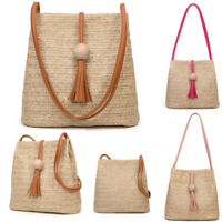 Womens Ladies Straw Bag Retro Rattan Handbag Woven Summer Beach Shoulder Bags