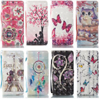 Artificial Leather Wallet Card Slots Case Cover Stand Bling For Samsung Galaxy