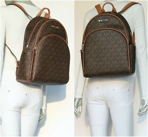 Michael Kors Abbey LARGE MK Signature PVC Leather Backpack Vanilla Brown