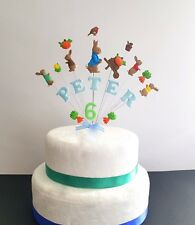 Peter rabbit birthday cake topper,  personalised name and age cake decoration