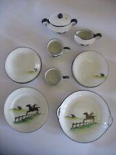 12 piece Vintage Noritake porcelain Child's Tea Set Equestrian Horse rider