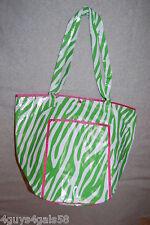 Tote Bag BEACH Green White ZEBRA STRIPE Round Bottom VINYL LINED Pink Accents
