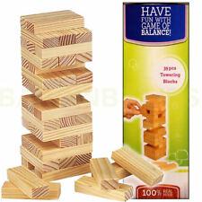 Tumbling Towering Blocks 39Pcs Jenga Stacking Wood Blocks real Wooden Pieces