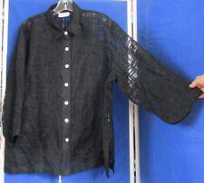 Beautiful EUC Robert KITCHEN RK Semi-Sheer TUNIC TOP Black Sz XL 3/4 Sleeves