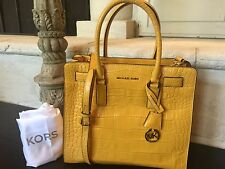 Michael Kors Dillon Croco Embossed Leather NS North South Large Sun Yellow Tote