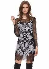 Lace Crew Neck Little Black Dresses