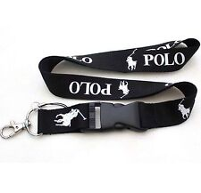 POLO LANYARD BLACK ID BADGE KEY CHAIN CELL PHONE MP3 PLAYER HOLDER SPORTS NEW