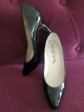 """RUSSELL & BROMLEY VINTAGE BLACK PATENT LEATHER SHOES 4"""" HEEL SIZE 4 EU 37"""