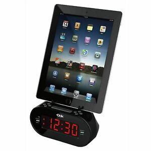 Easy Dok Alarm Clock w/Dual Charging Ports & Universal Smartphone Cradle Black