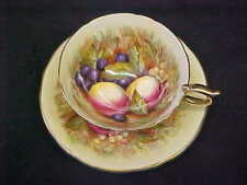 AYNSLEY HAND PAINTED FRUIT CUP & SAUCER SIGNED D JONES ORCHARD FRUIT GOLD