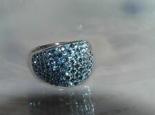Estate 925 Marked Thailand Silver Gradient of Blue Rhinestone Encrusted Wide