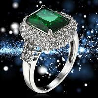 EG_ Women's Green Zircon Silver Plated Ring Fashion Wedding Bague Jewelry Trendy