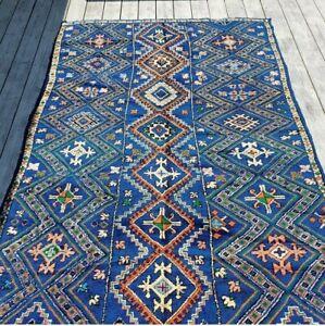 BLUE Moroccan Rug Marmoucha Berber rug, Super Rare 10' x 5'