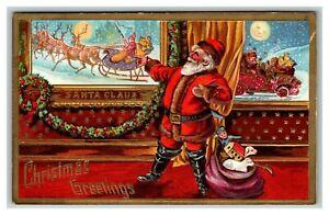 Vintage 1910's Christmas Postcard Santa with Toys Sleigh Reindeer Antique Auto