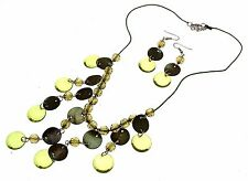 Green Beaded Necklaces Shell Effect And Earrings AW54