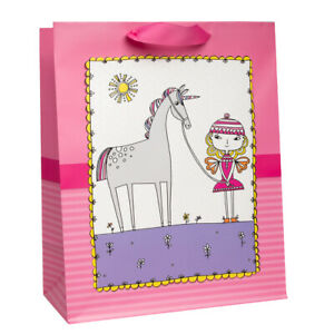"Hallmark 13"" Large Gift Bag For Girls With Cloth Handles Cute Unicorn & Fairy"